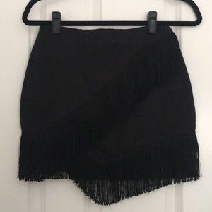 Topshop Black Fringe Skirt
